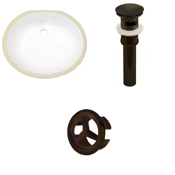 Csa Oval Undermount Sink Set - White-Oil Rubbed Bronze Hardware