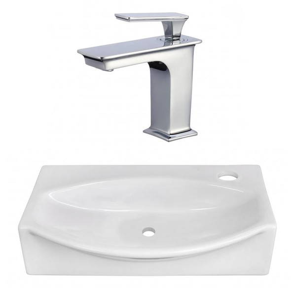 "16.5"" W Above Counter White Vessel Set For 1 Hole Right Faucet"