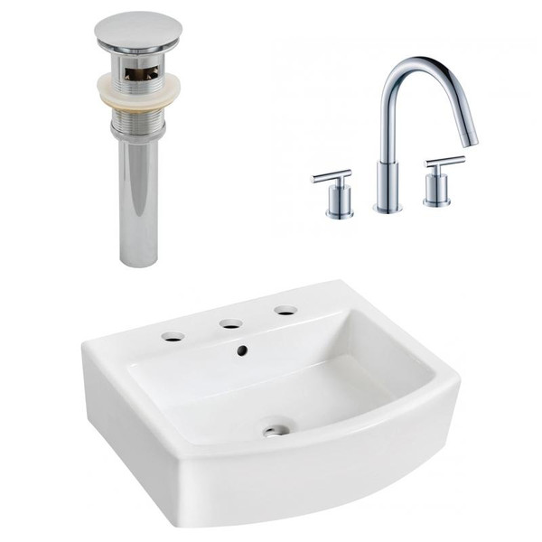 """22.25"""" W Wall Mount White Vessel Set For 3H8"""" Center Faucet"""