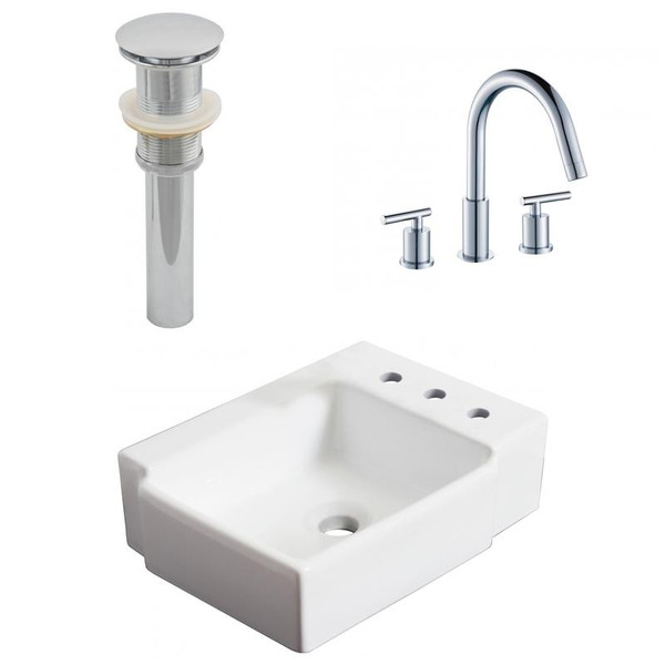 """16.25"""" W Above Counter White Vessel Set For 3H8"""" Right Faucet"""