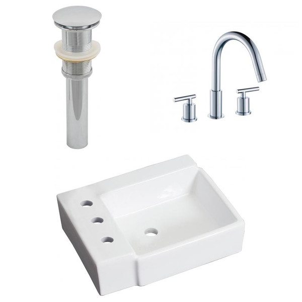 "16.25"" W Above Counter White Vessel Set For 3H8"" Left Faucet"