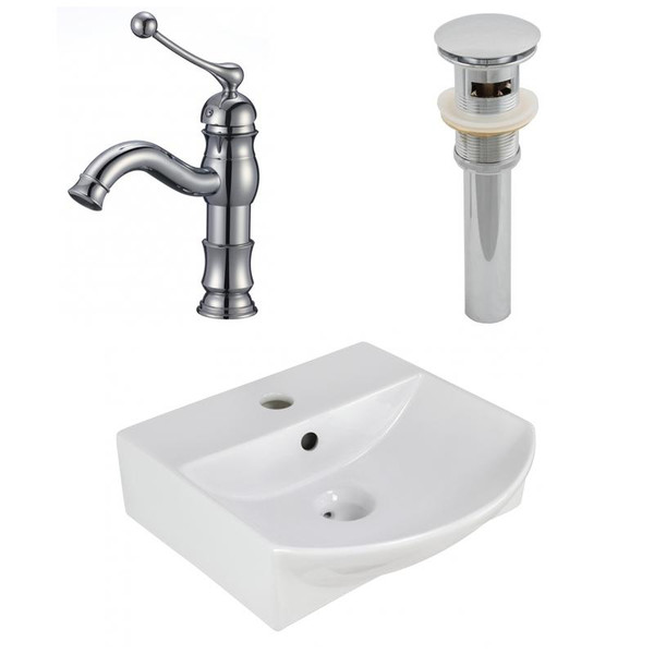 "13.75"" W Wall Mount White Vessel Set For 1 Hole Center Faucet"