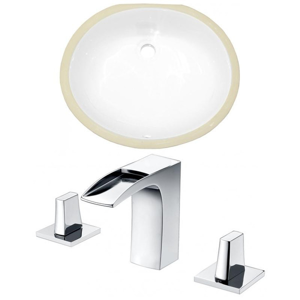 "Cupc Oval Undermount Sink Set - White-Chrome Hardware W/ 3H8"" Cupc Faucet"