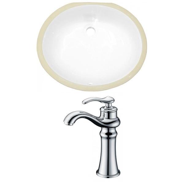 Cupc Oval Undermount Sink Set - White-Chrome Hardware W/ Deck Mount Cupc Faucet