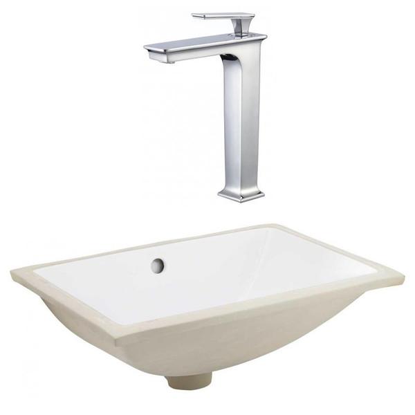 Csa Undermount Sink Set - White-Chrome Hardware W/ Deck Mount Cupc Faucet