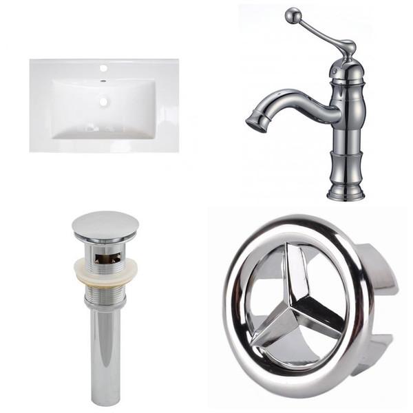 1 Hole Ceramic Top Set - White-Cupc Faucet & Overflow Drain Incl.