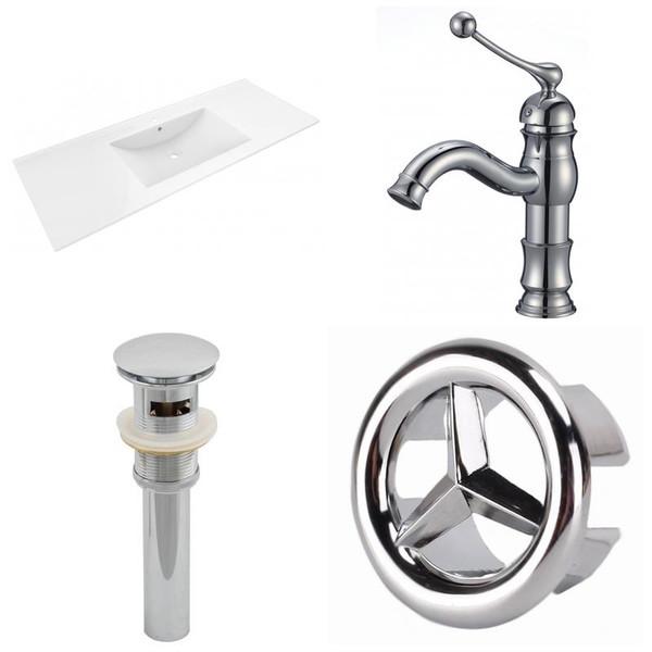 "48"" W 1 Hole Ceramic Top Set - White-Cupc Faucet & Overflow Drain Incl."
