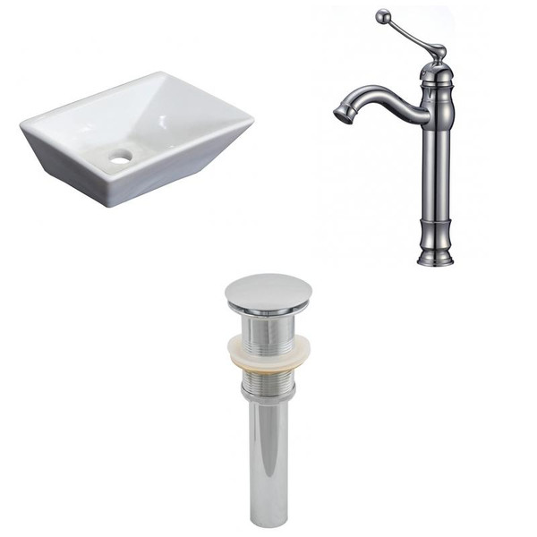 """12"""" W Above Counter White Vessel Set For Deck Mount Drilling"""