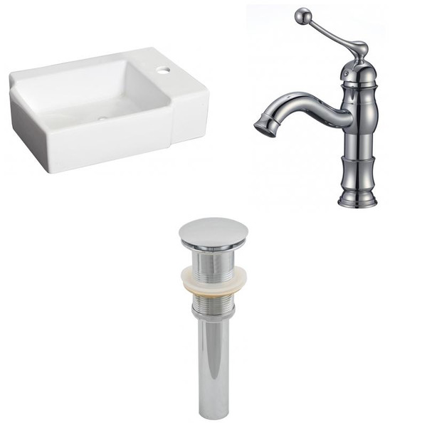 "16.25"" W Above Counter White Vessel Set For 1 Hole Right Faucet"