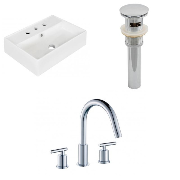 """19.75"""" W Wall Mount White Vessel Set For 3H8"""" Center Faucet"""