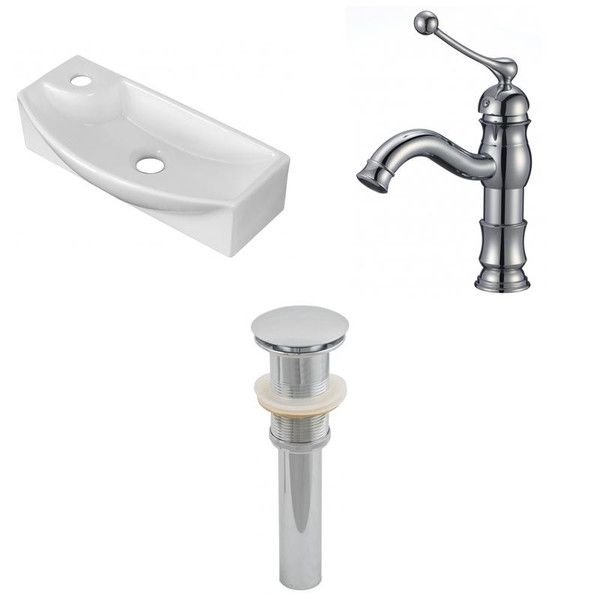 """17.75"""" W Above Counter White Vessel Set For 1 Hole Left Faucet"""