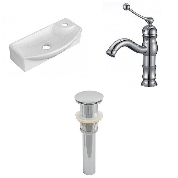 """17.75"""" W Wall Mount White Vessel Set For 1 Hole Right Faucet"""