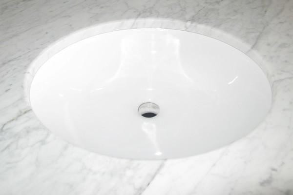 "18.125"" W 15.125"" D Cupc Certified Oval Undermount Sink In White Color"