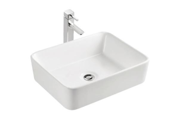 Above Counter White Vessel Bathroom Sink For Wall Mount Center Drilling