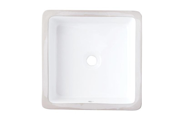 "16"" W 16"" D Cupc Certified Square Undermount Sink In White Color"