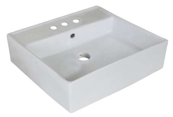 "18"" W Above Counter White Vessel Bathroom Sink For 3H4"" Center Drilling"