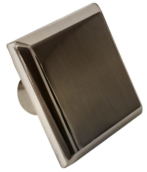 "1.20"" W Square Brass Cabinet Knob In Brushed Nickel Color AI-376"