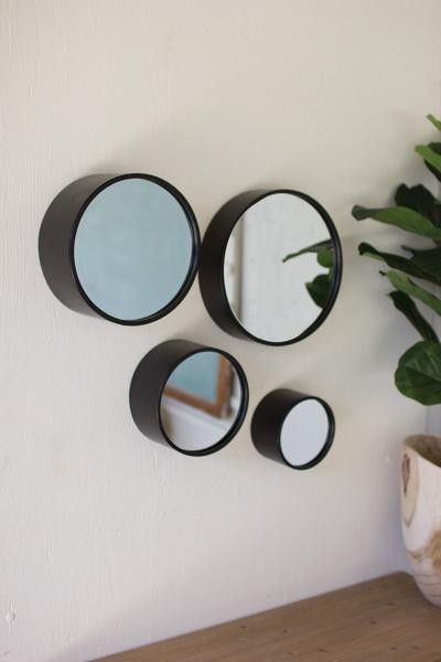Set Of Four Round Metal Wall Mirrors - Antique Black CMN1377 By Kalalou