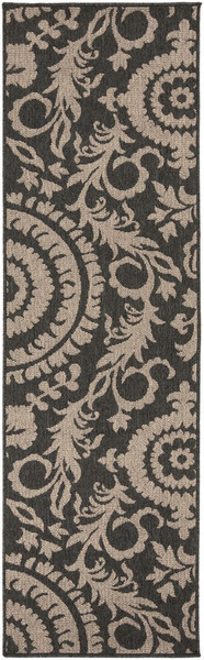 "Surya Alfresco Machine Made Black Rug ALF-9615 - 2'3"" x 11'9"""