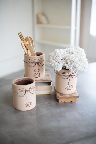 Set Of Three Clay Face Planters With Wire Glasses H3520 By Kalalou