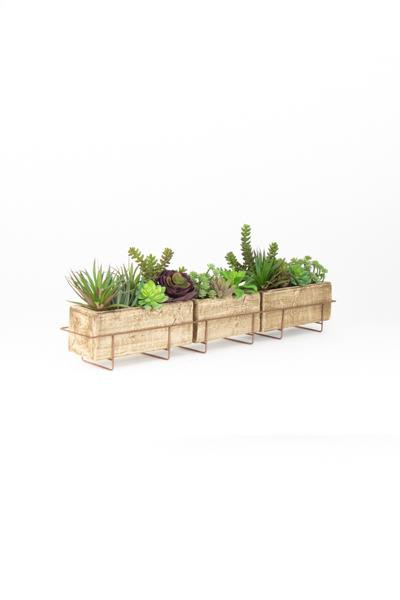 Long Clay Planter With Copper Finish Wire Base H3561 By Kalalou