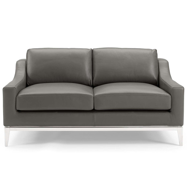 """Harness 64"""" Stainless Steel Base Leather Loveseat EEI-3445-GRY By Modway"""