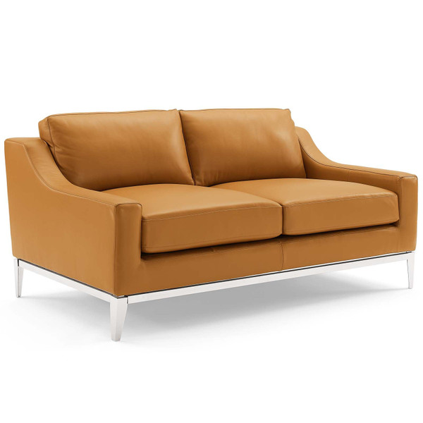 "Harness 64"" Stainless Steel Base Leather Loveseat EEI-3445-TAN By Modway"
