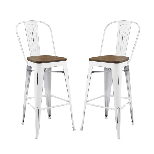 Promenade Bar Stool Set Of 2 EEI-3896-WHI-SET By Modway