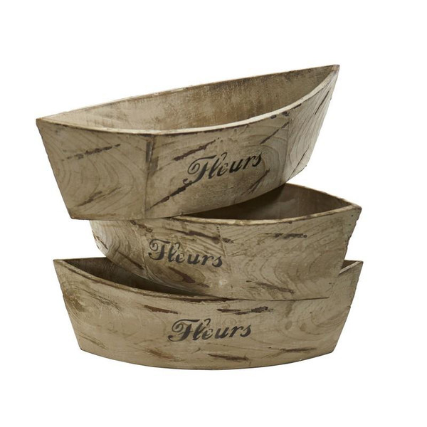 White Washed Wood Planter (Set Of 3) 0532-S3 By Nearly Natural