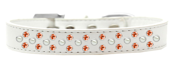 Sprinkles Dog Collar Pearl And Orange Crystals Size 12 White 616-8 WT-12 By Mirage