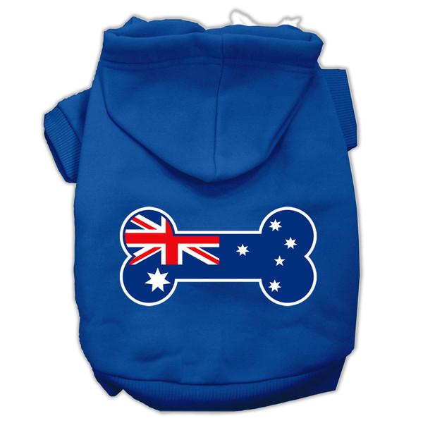 Bone Shaped Australian Flag Screen Print Pet Hoodies Blue Size Xxxl (20) 62-09 XXXLBL By Mirage