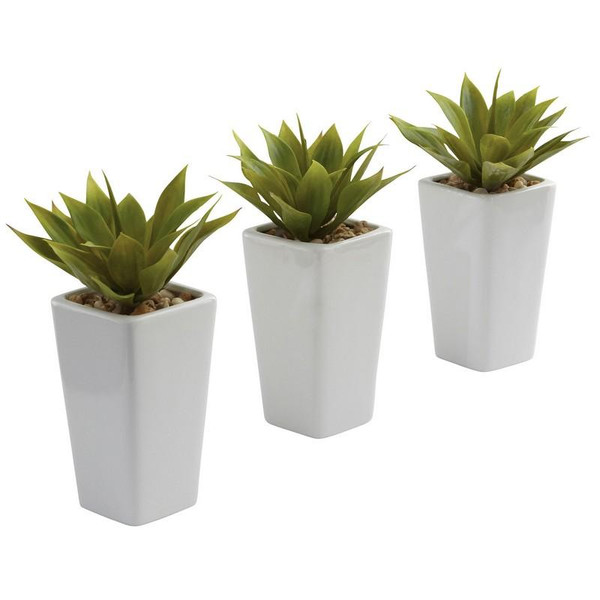Mini Agave With Planter (Set Of 3) White 4972-S3 By Nearly Natural