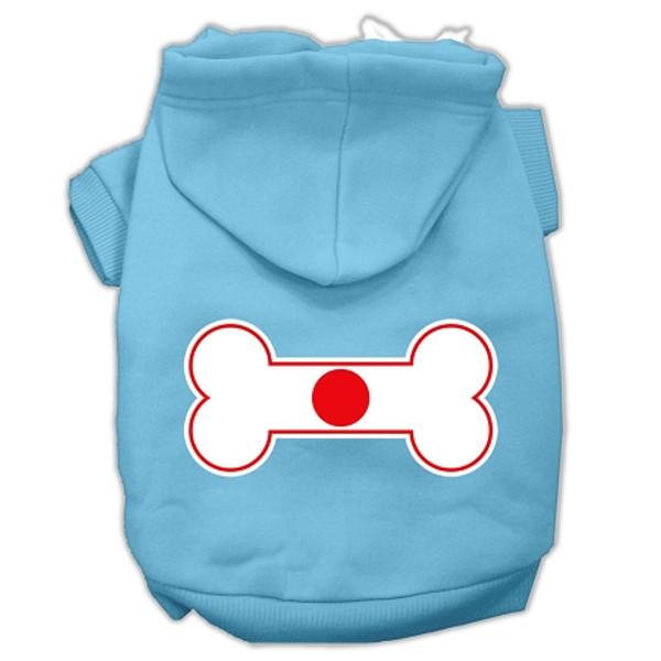 Bone Shaped Japan Flag Screen Print Pet Hoodies Baby Blue Xl (16) 62-18 XLBBL By Mirage