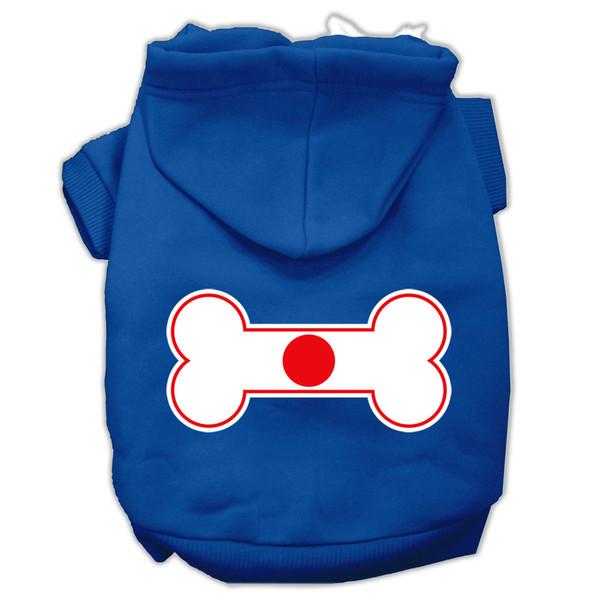 Bone Shaped Japan Flag Screen Print Pet Hoodies Blue Xxxl(20) 62-18 XXXLBL By Mirage