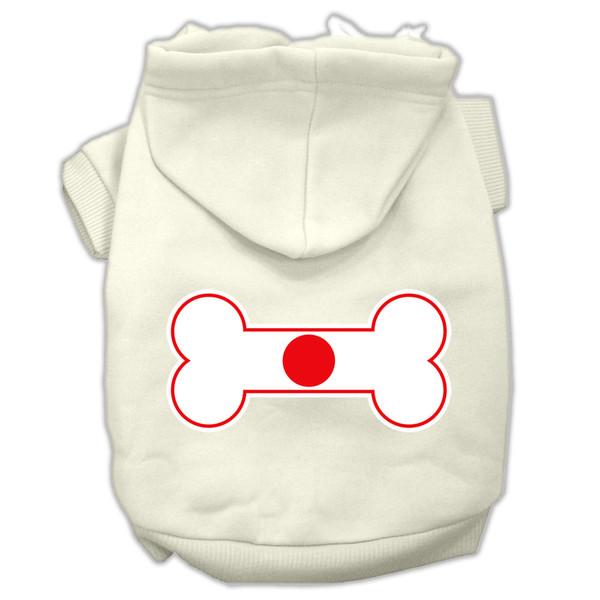 Bone Shaped Japan Flag Screen Print Pet Hoodies Cream Size Xxxl(20) 62-18 XXXLCR By Mirage
