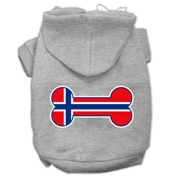 Bone Shaped Norway Flag Screen Print Pet Hoodies Grey Xxxl(20) 62-19 XXXLGY By Mirage