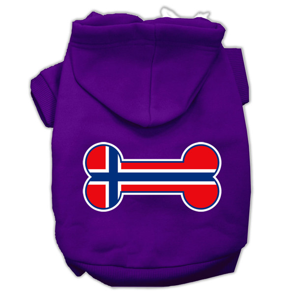 Bone Shaped Norway Flag Screen Print Pet Hoodies Purple Size Xxxl(20) 62-19 XXXLPR By Mirage