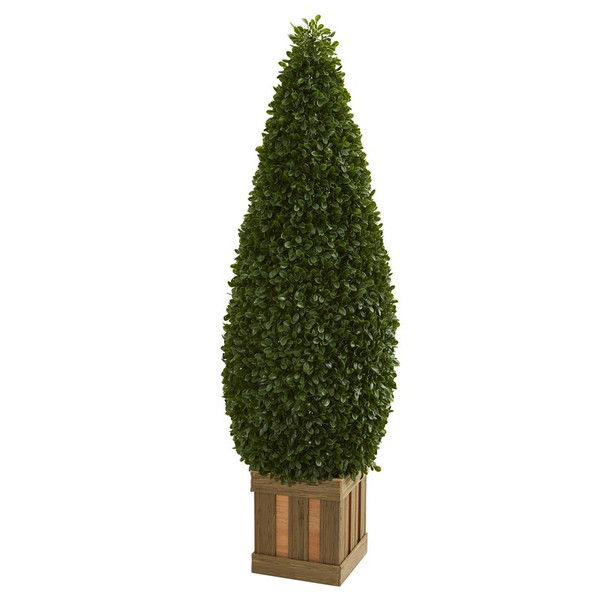 5' Boxwood Cone Topiary Artificial Tree With Decorative Planter 5607 By Nearly Natural