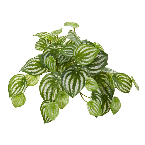 """11"""" Watermelon Peperomia Hanging Artificial Bush Plant (Set Of 12) (Real Touch) 6197-S12 By Nearly Natural"""