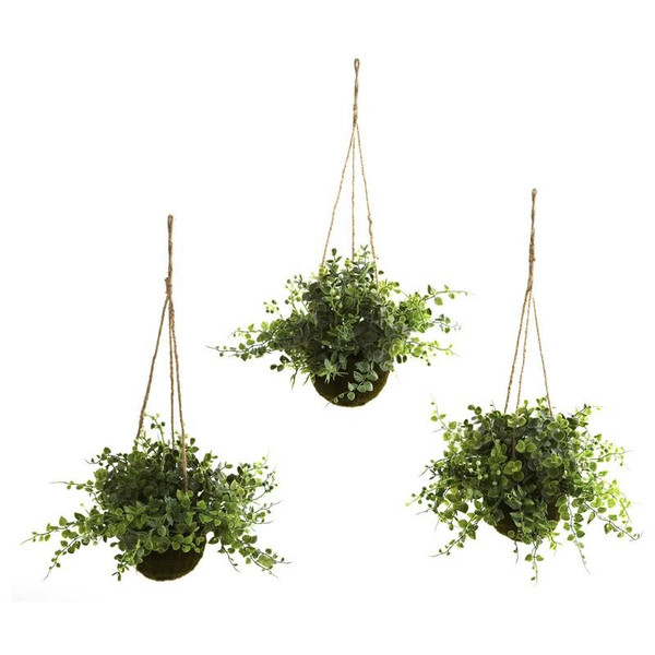 Eucalyptus, Maiden Hair & Berry Hanging Basket (Set Of 3) 6741-S3 By Nearly Natural