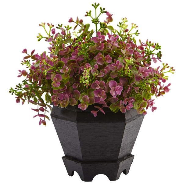 Sedum And Eucalyptus Plant With Planter 6891 By Nearly Natural