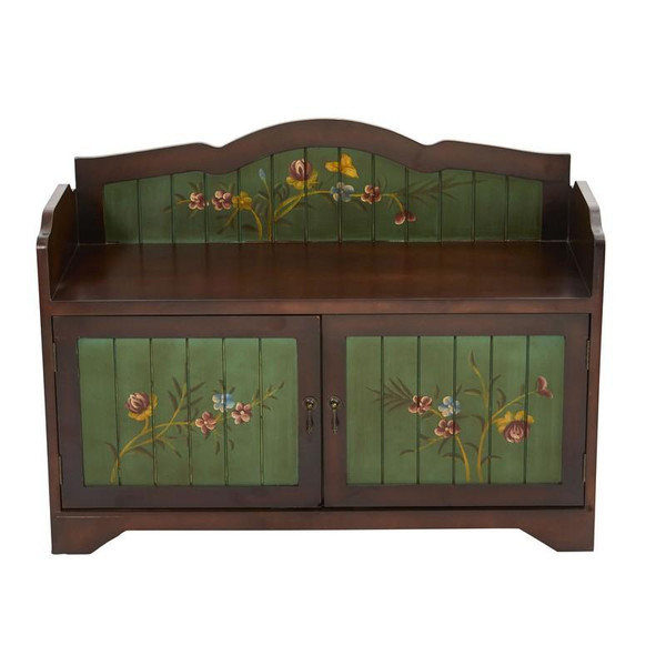 36'' Antique Floral Art Bench With Drawers 7031 By Nearly Natural