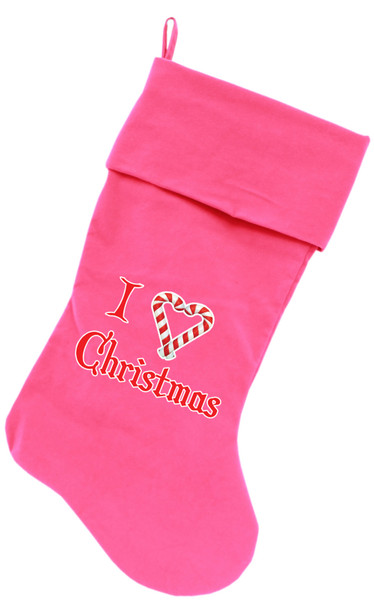 I Heart Christmas Screen Print 18 Inch Velvet Christmas Stocking Pink 64-06 PK By Mirage