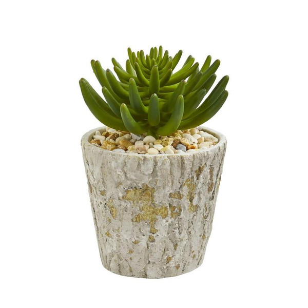 "11"" Succulent Artificial Plant In Weathered Oak Planter 8467 By Nearly Natural"