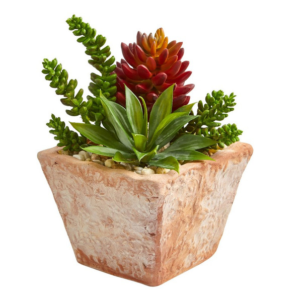 """11"""" Mixed Succulents Artificial Plant In Small Terra Cotta Vase 8480 By Nearly Natural"""