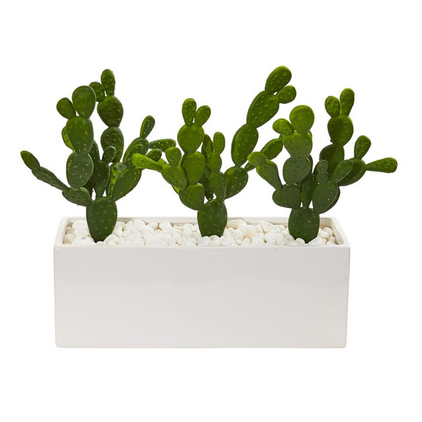 """11"""" Cactus Succulent Artificial Plant In Glazed White Vase 8512 By Nearly Natural"""