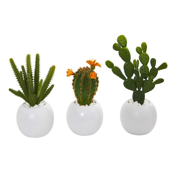 "10"" Mix Succulent Artificial Plant In White Planter (Set Of 3) 8634-S3 By Nearly Natural"