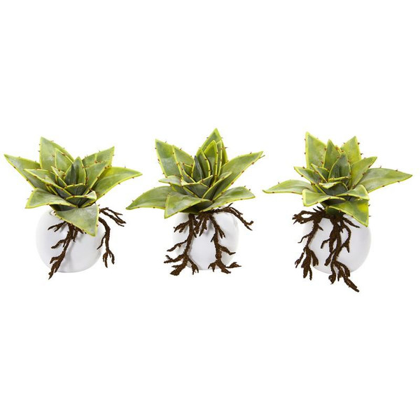 """6"""" Dusty Succulent Artificial Plant In White Vase (Set Of 3) 8636-S3 By Nearly Natural"""