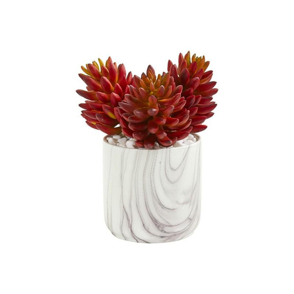 """10"""" Succulent Artificial Plant In Marble Finish Vase 8700 By Nearly Natural"""