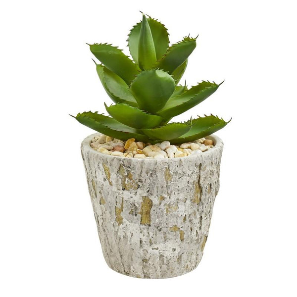 Succulent Artificial Plant In Weathered Oak Planter 8702 By Nearly Natural